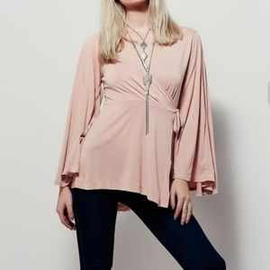 FREE PEOPLE DYNASTY WRAP BELL SLEEVES TOP XS